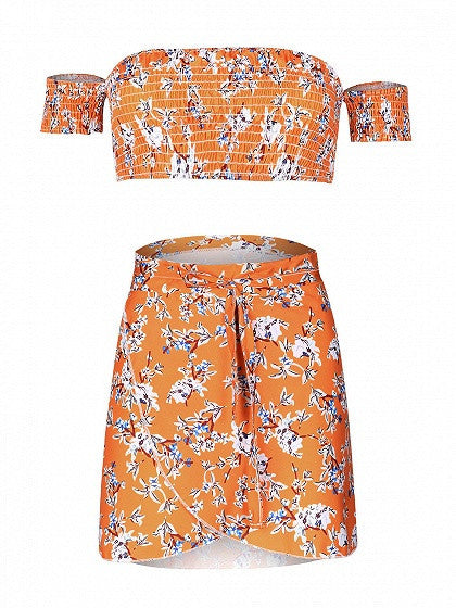 Orange Floral Print Off Shoulder Crop Top and Tulip Skater Skirt Set
