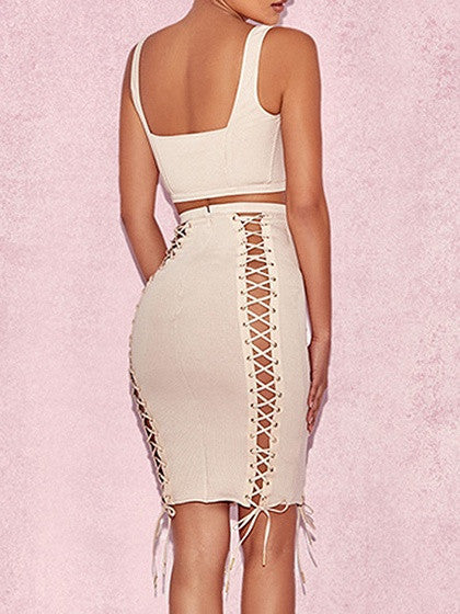 Beige Ribbed Eyelet Lace Up Tank Crop Top and Bodycon Skirt