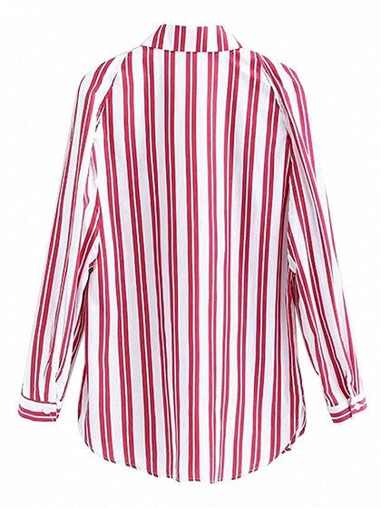 Red Striped Slit Long Sleeve Shirt