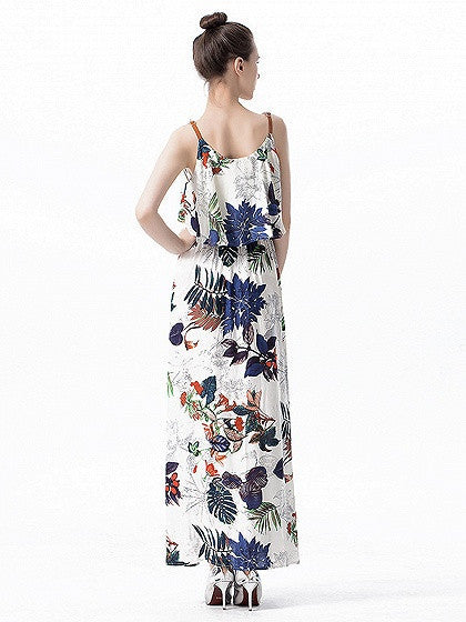 Multi Floral Printed Sleeveless Layered Top Strap Maxi Dress