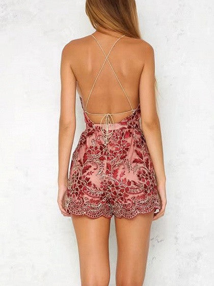 Red Backless Cross Spaghetti Strap Embroidery Lace Scalloped Hem Romper Playsuit