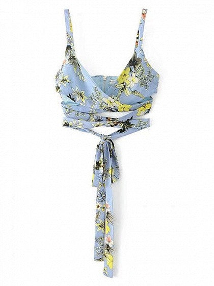 Blue Floral V-neck Spaghetti Strap Wrap Crop Top
