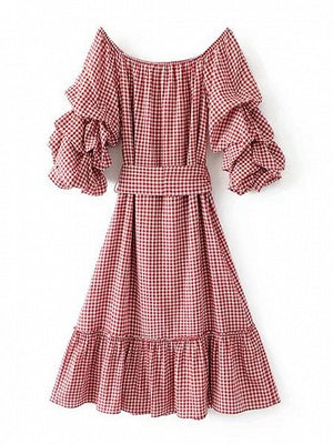 Red Plaid Off Shoulder Ruched Sleeve Tied Waist Ruffle Hem Midi Dress