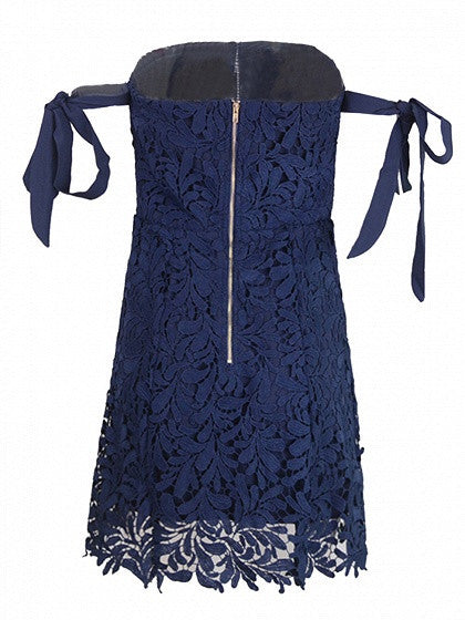 Navy Blue Bandeau Bardot Tie Sleeve Cutwork Lace Ladder Mini Dress
