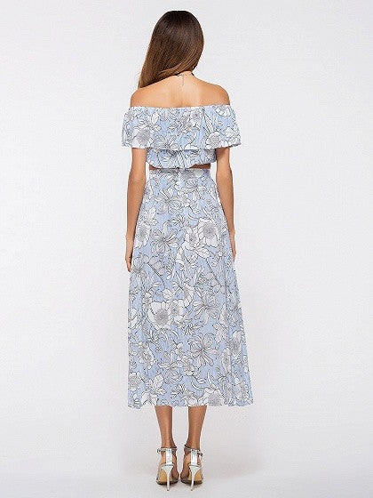 Blue Floral Print Bardot Ruffle Crop Top and Split Maxi Skirt