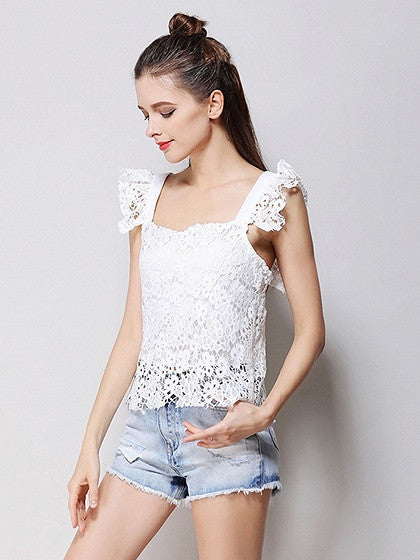 White Square Neck Lace Zip Back Tank Top
