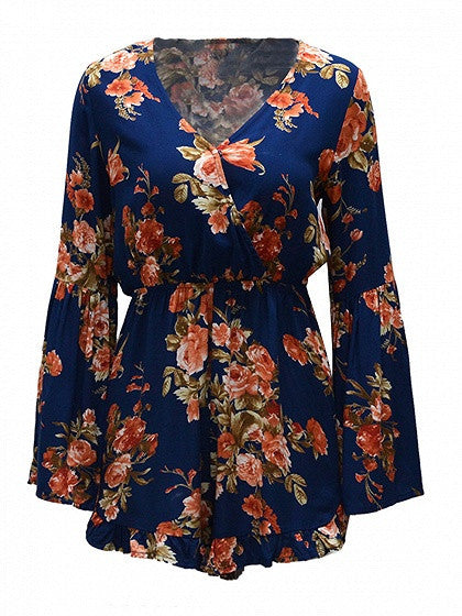 Dark Blue Floral Print Wrap Front Bell Sleeve Romper Playsuit