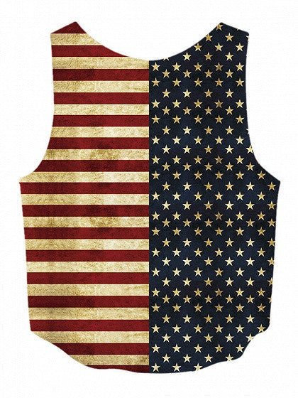 Patriotic 4th Of July American Flag Print Dip Hem Tank Top