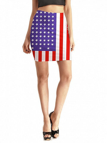 Patriotic 4th Of July American Flag Print Pencil Skirt