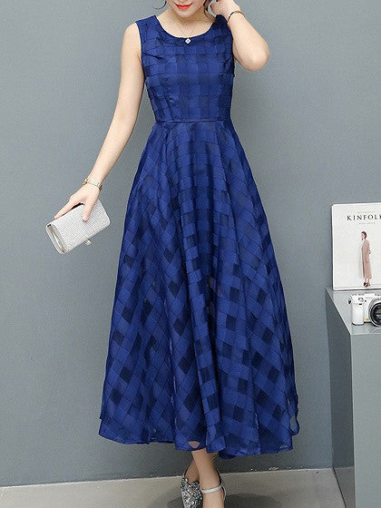 Blue Sheer Plaid Sleeveless Organza Party Maxi Dress