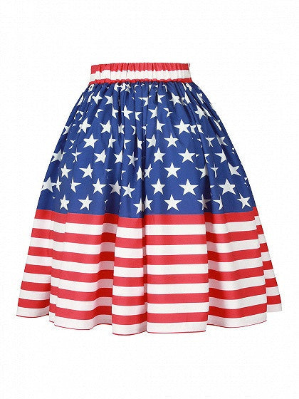Patriotic 4th Of July High Waist American Flag Print Skater Prom Skirt