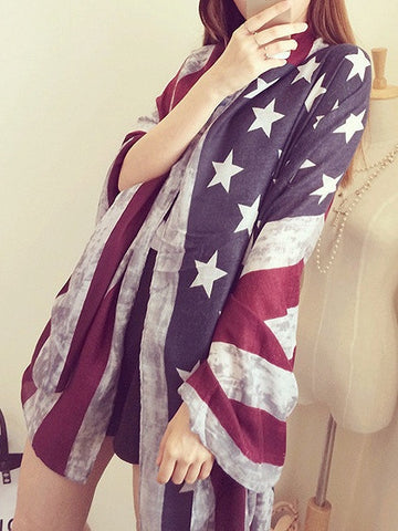 Patriotic 4th of July American Flag Scarf