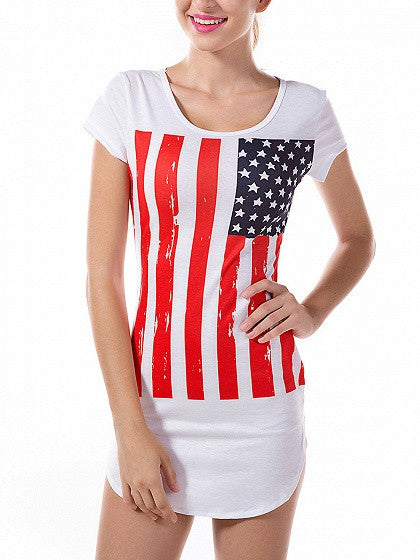 Patriotic 4th of July White American Flag Print Short Sleeve Curved Hem T-shirt Dress