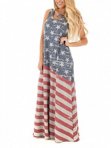 Patriotic 4th of July American Flag Print Sleeveless Maxi Vest Dress