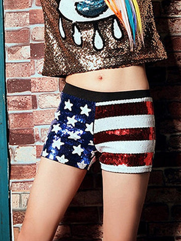 Patriotic 4th of July American Flag Print Sequin Low Waist Shorts