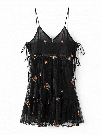 Black V-neck Embroidery Tie Side Mesh Overlay Spaghetti Strap Mini Dress