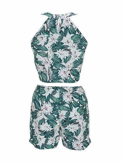 Green Leaf Print Halter Crop Top And Shorts