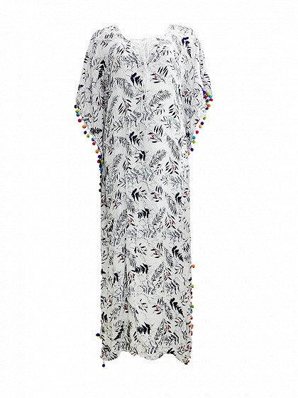 White Lace Up Leaf Print Pom Poms Side Split Maxi Beach Dress