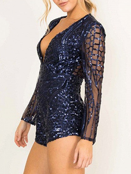 Blue Plunge V Neck Long Sleeve Cut Out Back Sequin Mesh Romper Playsuit