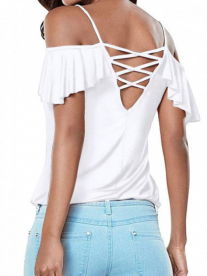 White Cold Shoulder Cross Strappy Back Ruffle Sleeve Cami Top