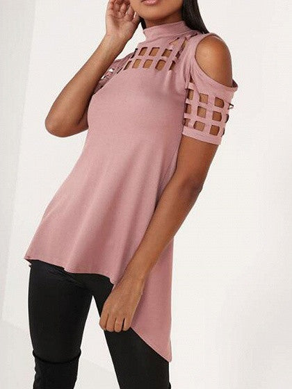 Pink High Neck Lattice Cut Out Split Back Cold Shoulder Top