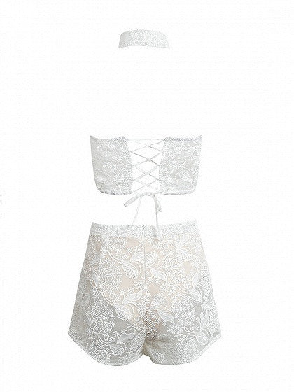 White Choker Neck Bandeau Embroidery Semi Sheer Crop Top And Shorts Clubwear