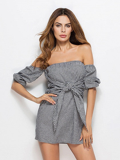 Black Plaid Off Shoulder Knot Front Mini Dress