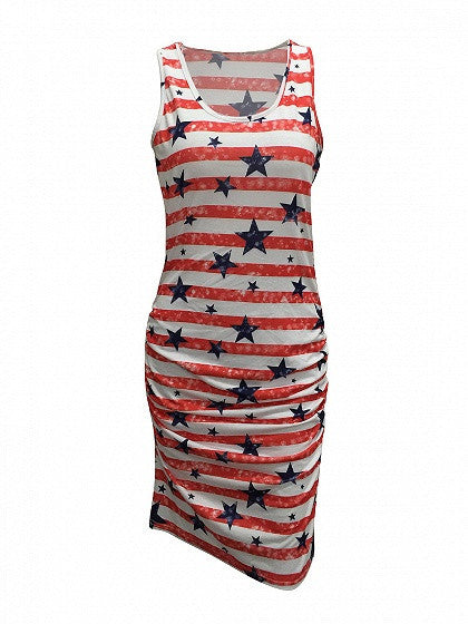 Patriotic 4th of July Stripe And Star Print Sleeveless Ruched Tank Bodycon Dress