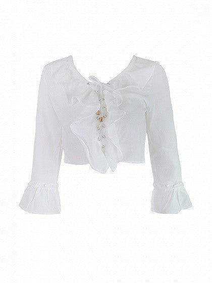 White Long Ruffle Bell Sleeve Lace Up Crop Blouse Top