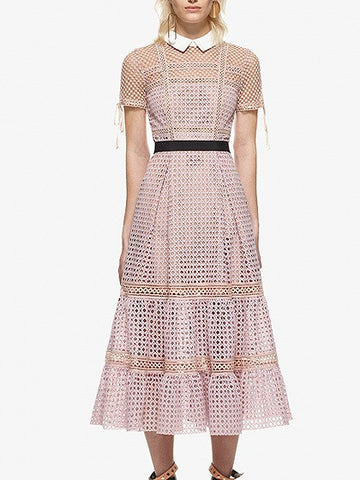 Pink Contrast Collar Tucked Skirt Trimmed Lace Midi Dress