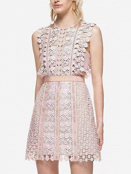 Pink Floral Lace Trimmed Sleeveless A-line Formal Party Mini Dress