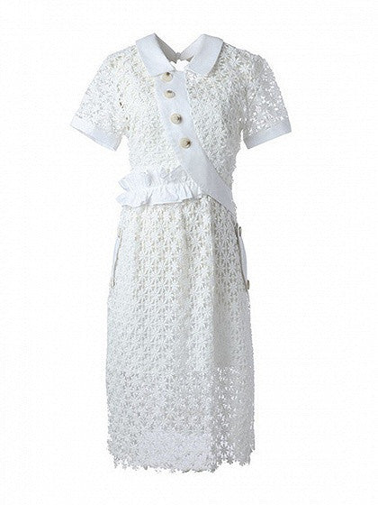 White Curved Button Placket Plunge Back Frill Lace Midi Dress