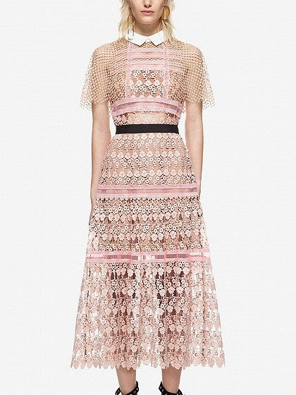 Fashion Pink Contrast Collar Mesh Cape Sheer Trim Formal Party Lace Midi Dress