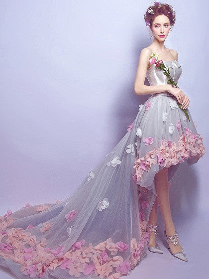Gray Bandeau Petal Applique Hi-lo Chapel Train Prom Dress