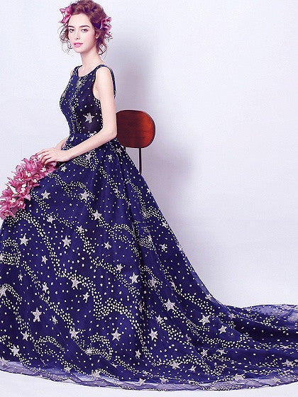 Navy Blue Sequin Star V Back Sleeveless Chapel Train Prom Dress