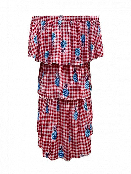 Red Plaid Off Shoulder Pineapple Print Dipped Hem Layered Dress