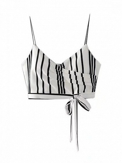 Monochrome Stripe V-neck Tie Front Cami Crop Top