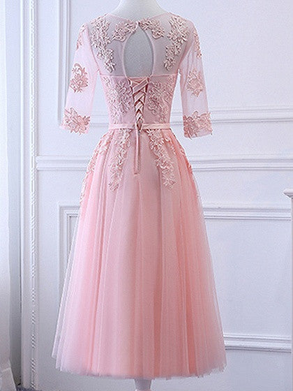Pink Sheer Mesh Embroidery Lace Up Back Tulle Midi Prom Dress