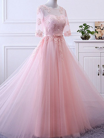 Pink Sheer Mesh Embroidery Lace Up Back Tulle Maxi Prom Dress