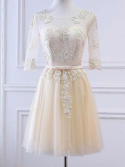 Champagne Sheer Mesh Embroidery Lace Up Back Tulle Homecoming Dress