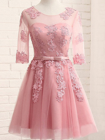 Pink Sheer Mesh Embroidery Lace Up Back Tulle Homecoming Dress