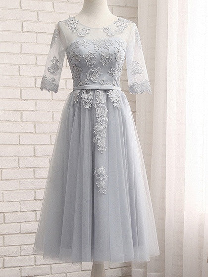 Gray Sheer Mesh Embroidery Lace Up Back Tulle Midi Prom Dress