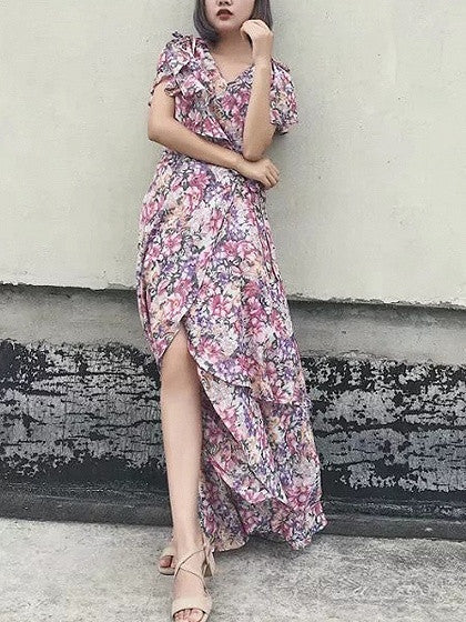 Polychrome Floral V-neck Tie Side Layered Maxi Dress