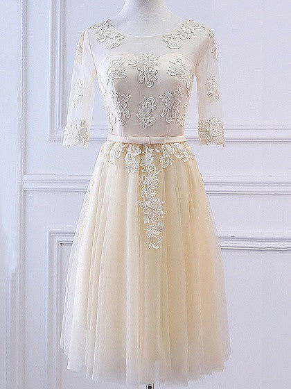 Champagne Sheer Mesh Embroidery Lace Up Back Tulle Midi Prom Dress