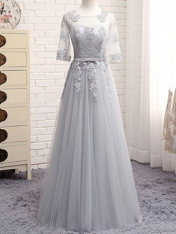 Gray Sheer Mesh Embroidery Lace Up Back Tulle Maxi Prom Dress
