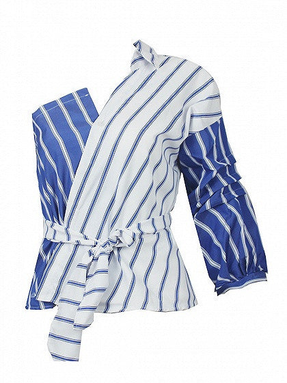Blue Stripe One Shoulder Contrast Wrap Tie Waist Shirt High Street