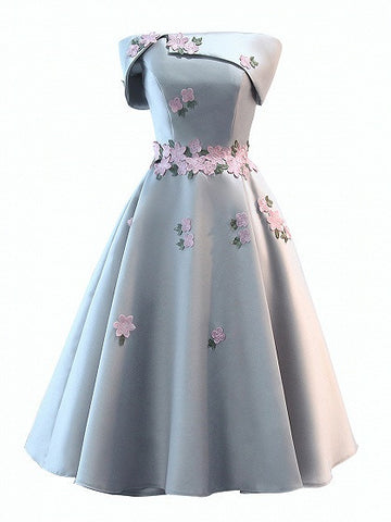 Gray Satin Folded Bandeau Embroidery Floral Skater Prom Dress