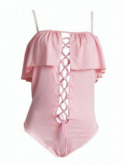 Pink Off Shoulder Ruffle Lace Up Front Cami Swimsuit