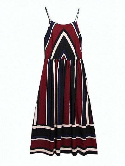 Red Contrast Stripe V Neck Cami Midi Dress