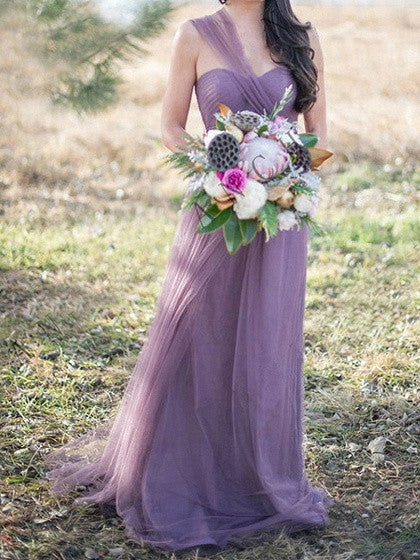 Light Purple Multi-way Lace Up Back Tulle Maxi Prom Dress